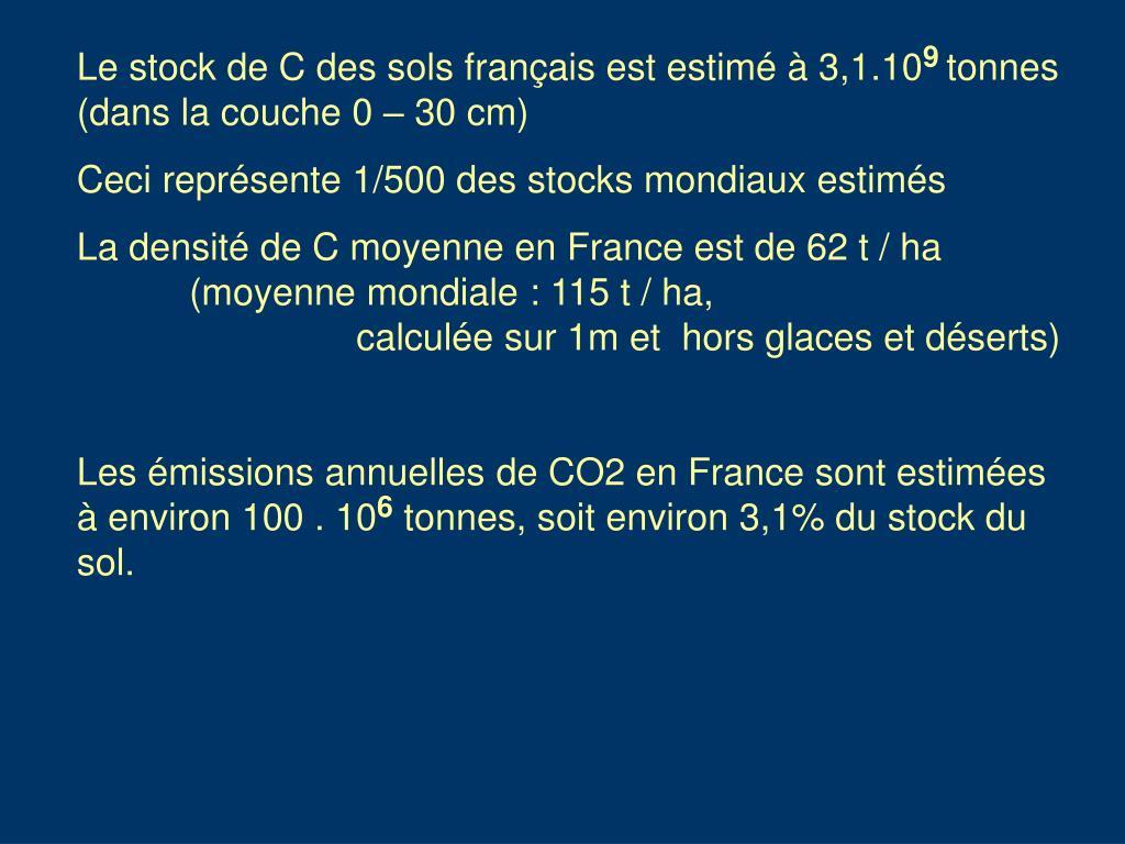 Le stock de C des sols français est estimé à 3,1.10