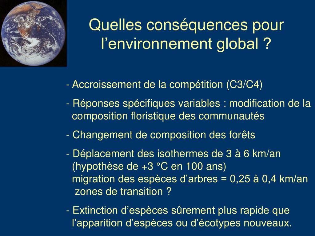 Quelles conséquences pour l'environnement global ?