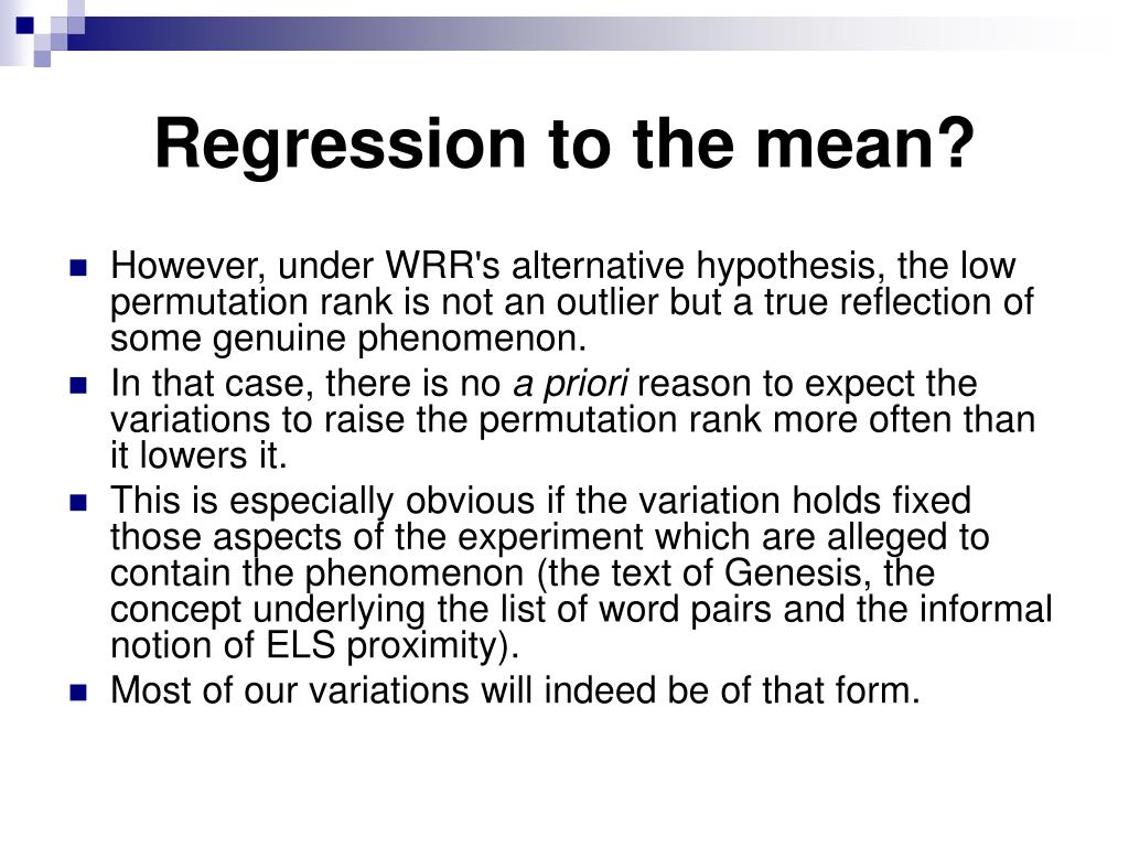 Regression to the mean?