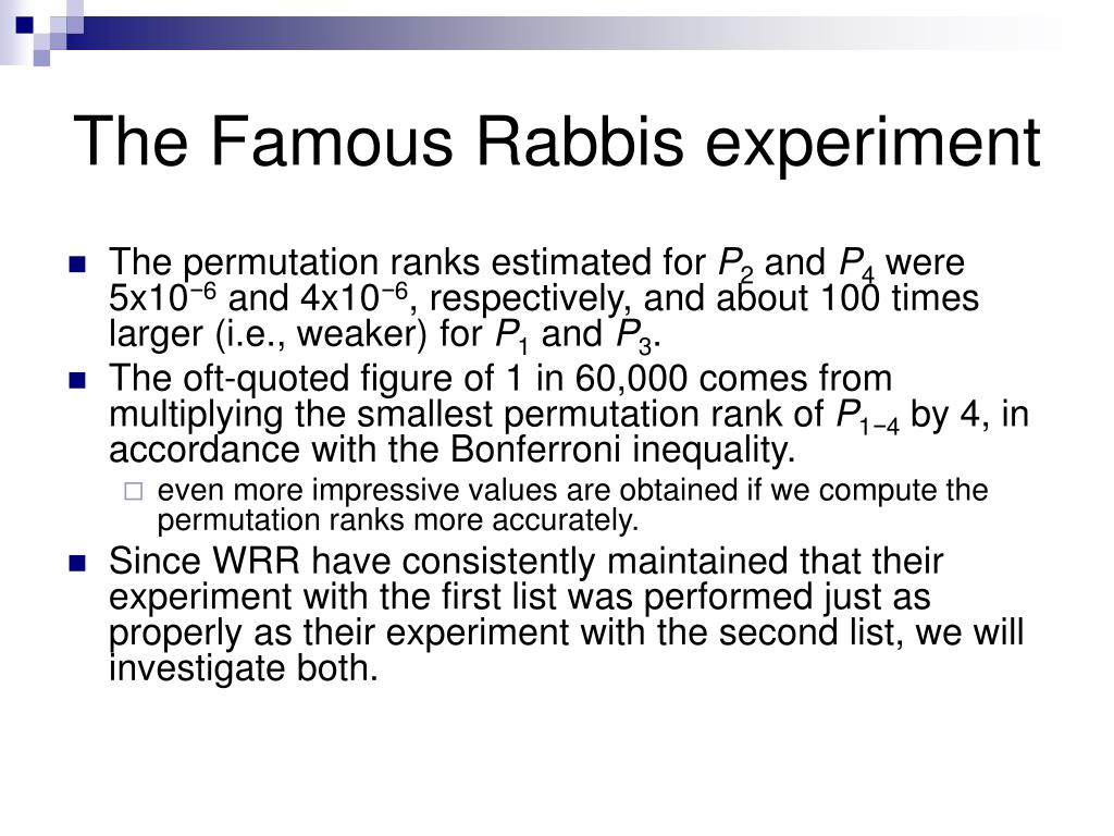 The Famous Rabbis experiment
