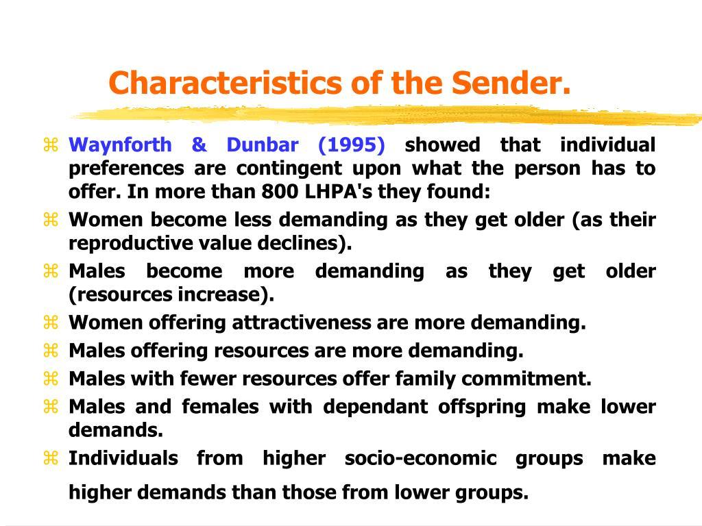 Characteristics of the Sender.