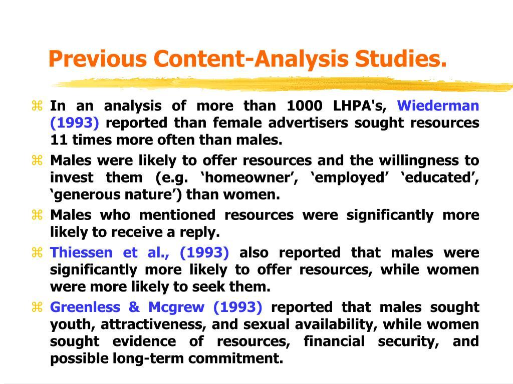 Previous Content-Analysis Studies.