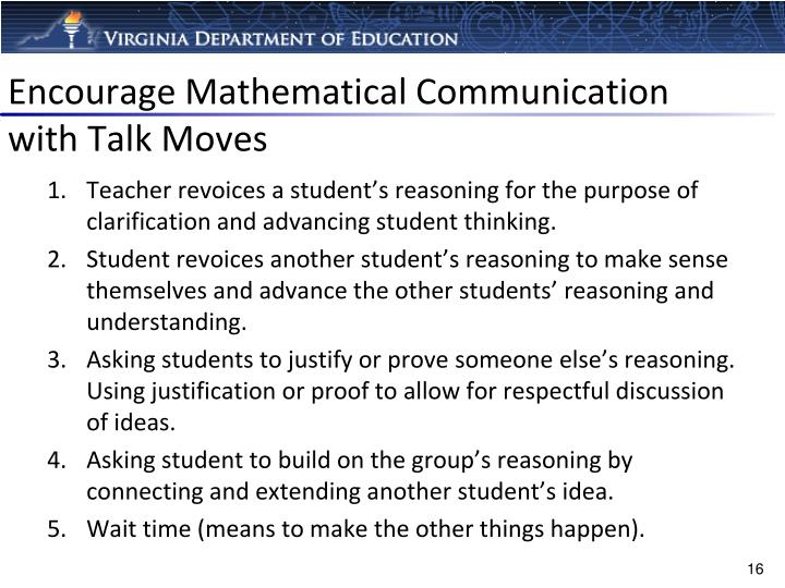 Encourage Mathematical Communication with Talk Moves