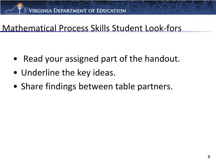 Mathematical Process Skills Student Look-fors