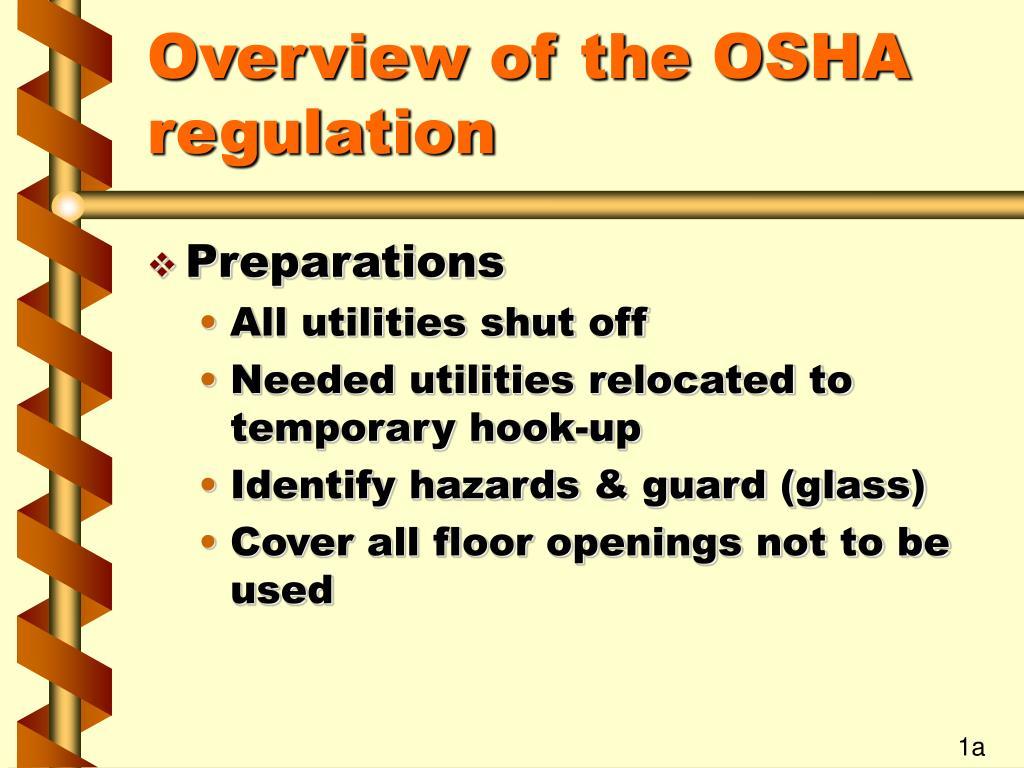 Overview of the OSHA regulation