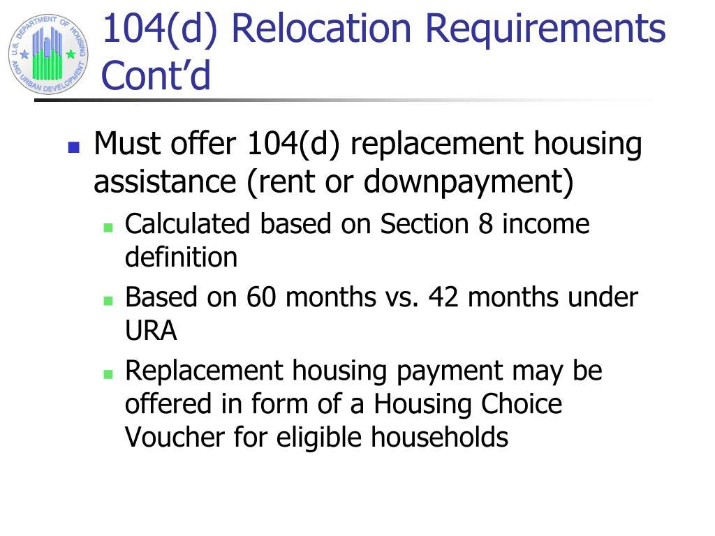 104(d) Relocation Requirements Cont'd