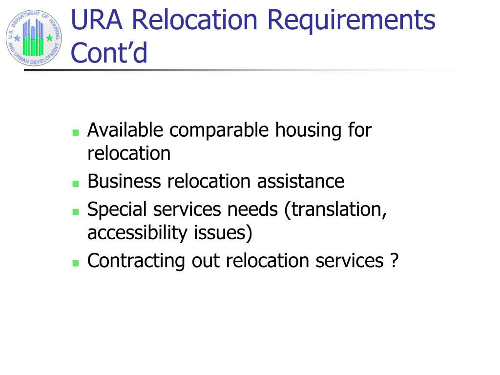 URA Relocation Requirements