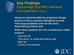 key findings future high end hpc demand characteristics cont