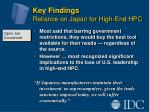 key findings reliance on japan for high end hpc