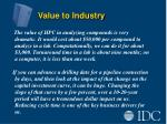 value to industry