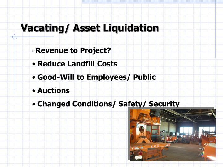 Vacating/ Asset Liquidation
