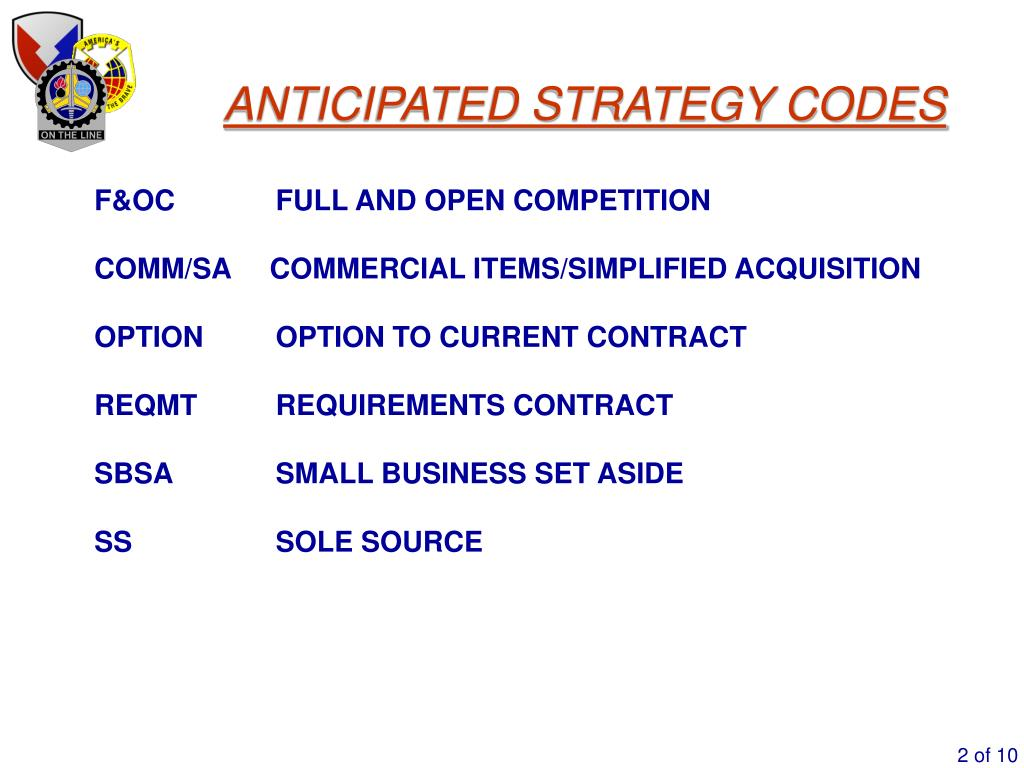 ANTICIPATED STRATEGY CODES