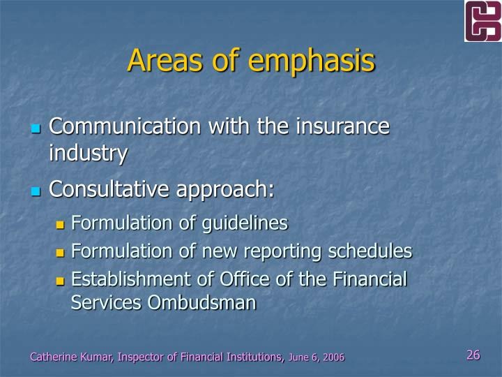 Areas of emphasis