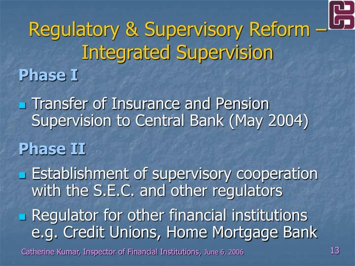 Regulatory & Supervisory Reform –