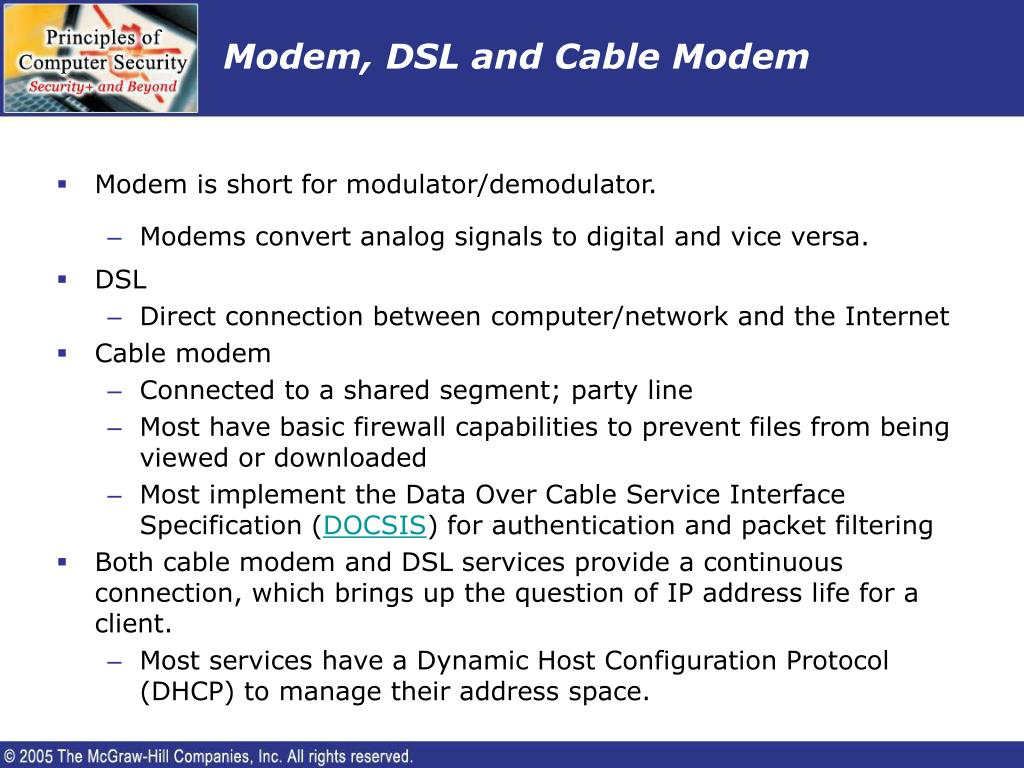 Modem, DSL and Cable Modem