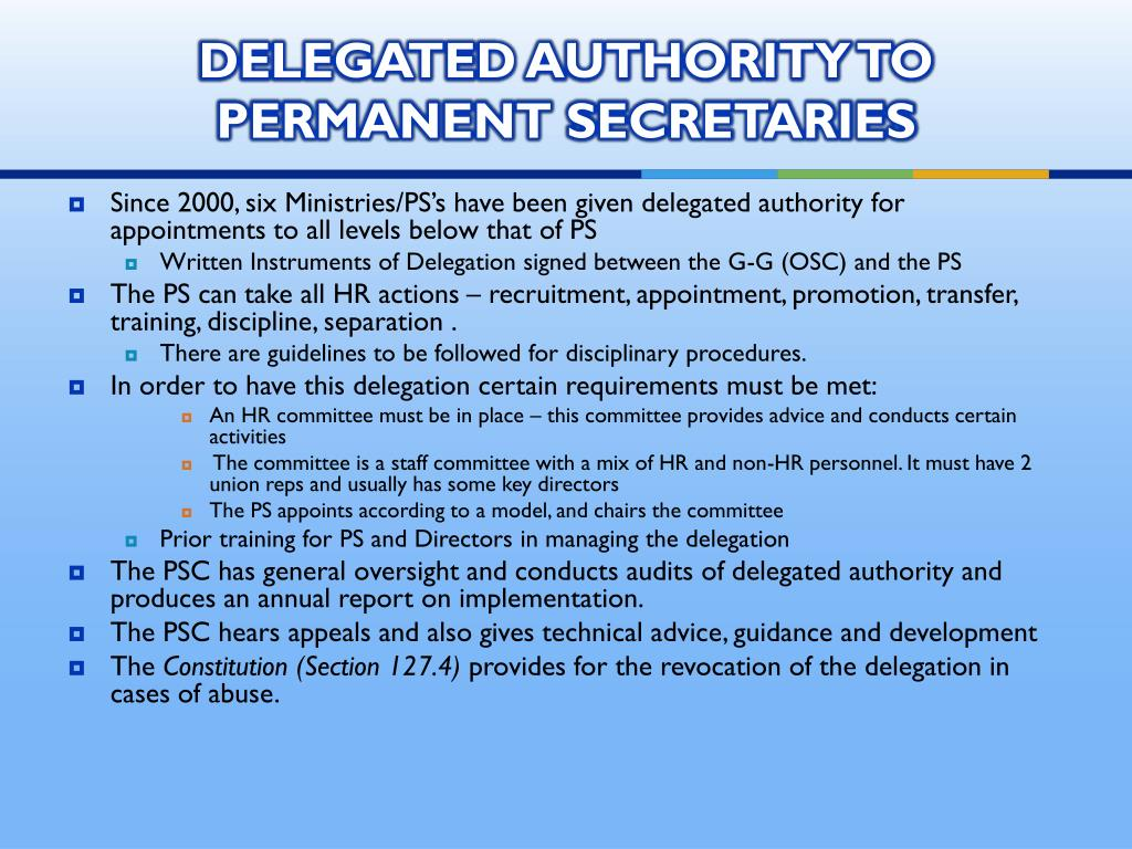 DELEGATED AUTHORITY TO PERMANENT SECRETARIES