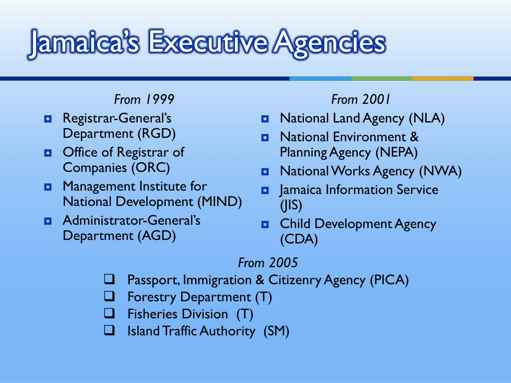 Jamaica's Executive Agencies