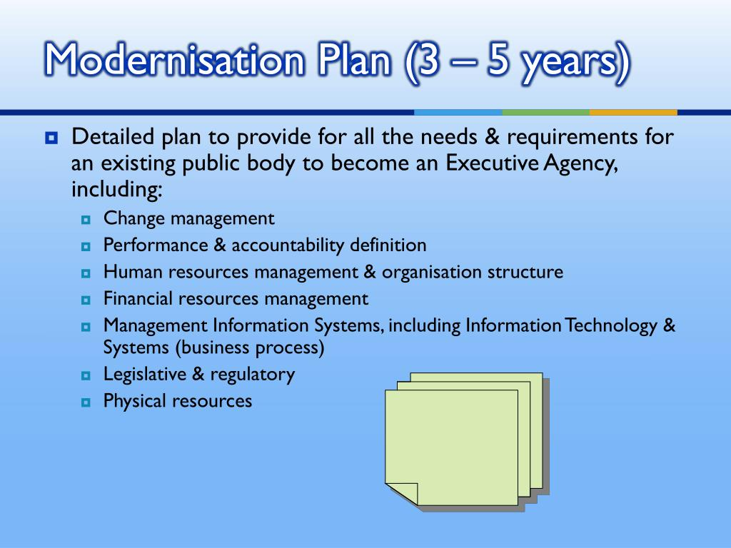 Modernisation Plan (3 – 5 years)