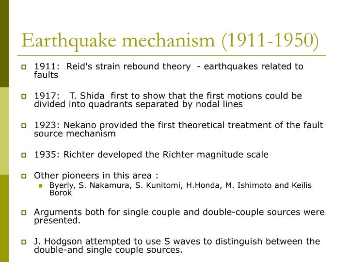 Earthquake mechanism (1911-1950)
