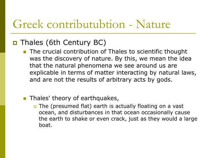 Greek contributubtion - Nature