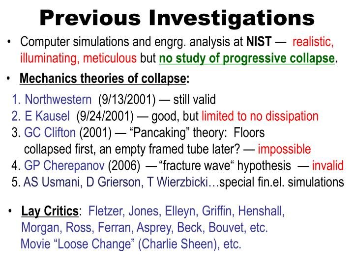Previous Investigations