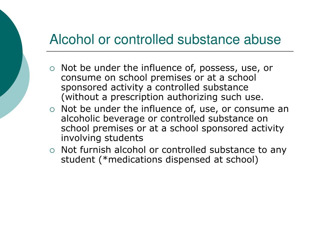 Alcohol or controlled substance abuse