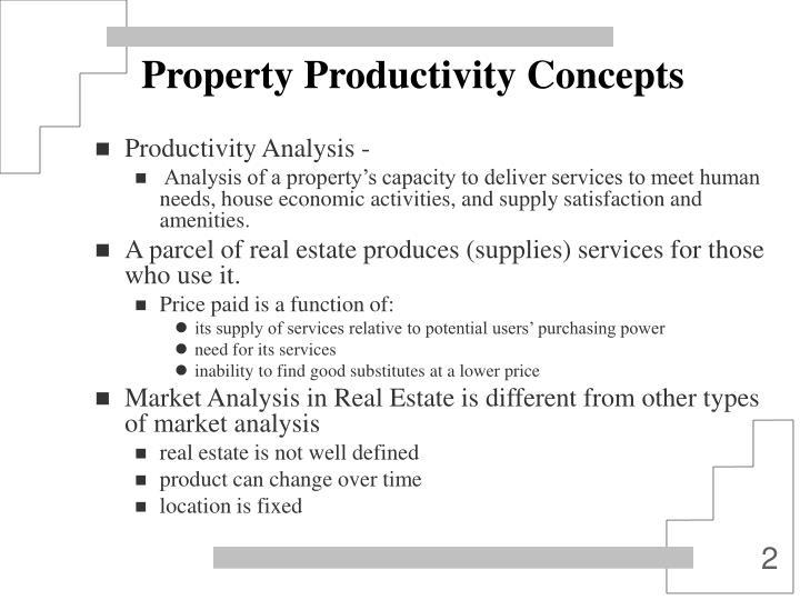 Property productivity concepts