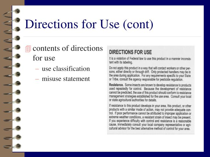 Directions for Use (cont)