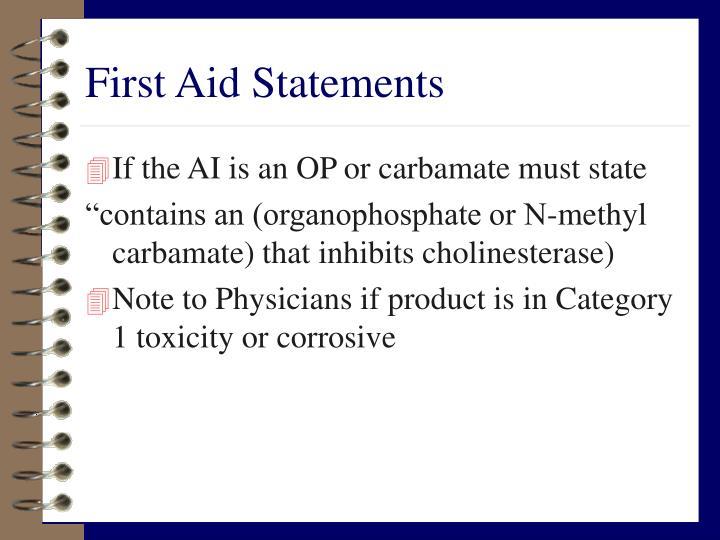 First Aid Statements