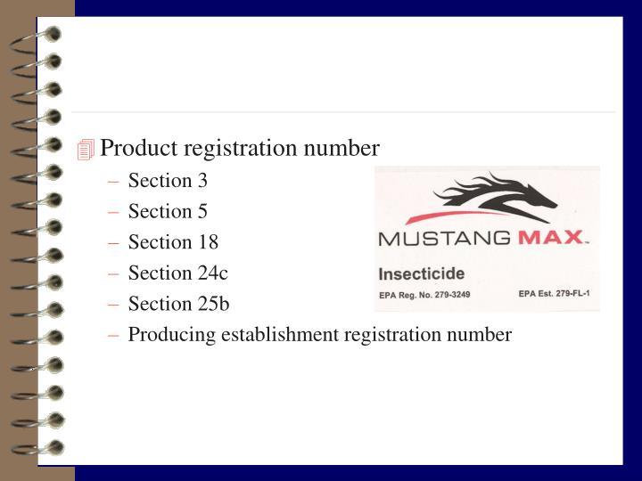 Product registration number