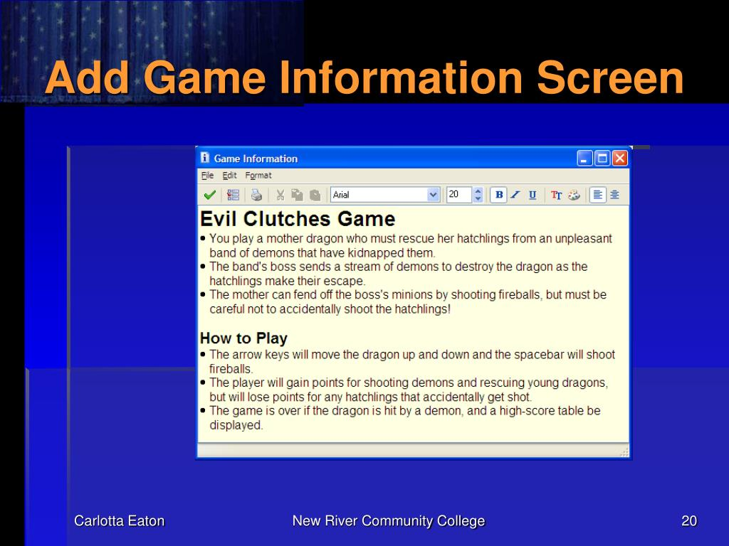 Add Game Information Screen