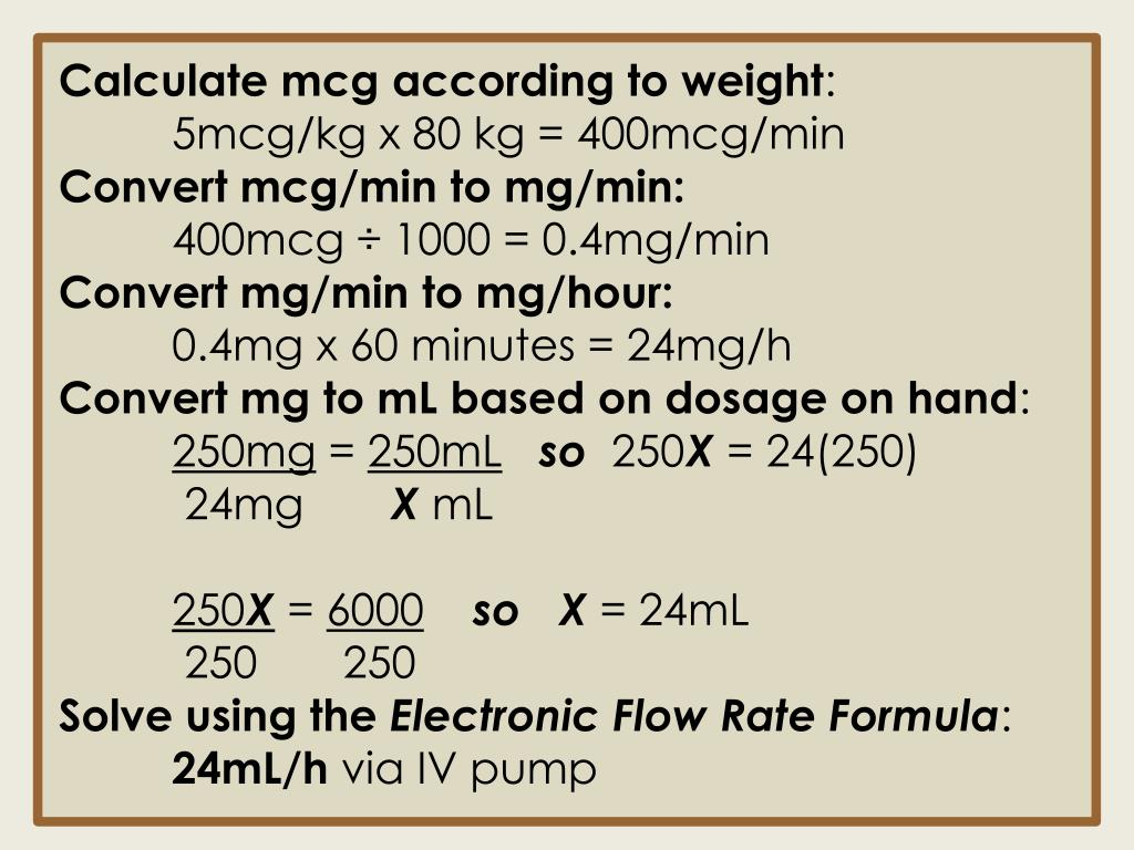 Calculate mcg according to weight