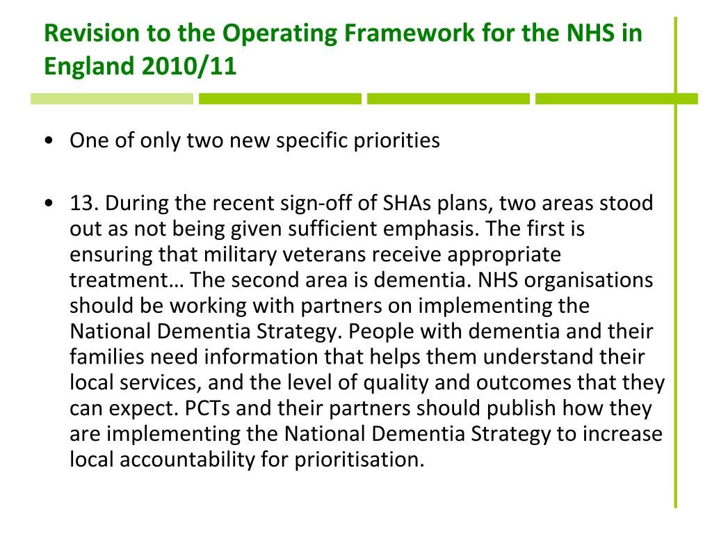 Revision to the Operating Framework for the NHS in England 2010/11