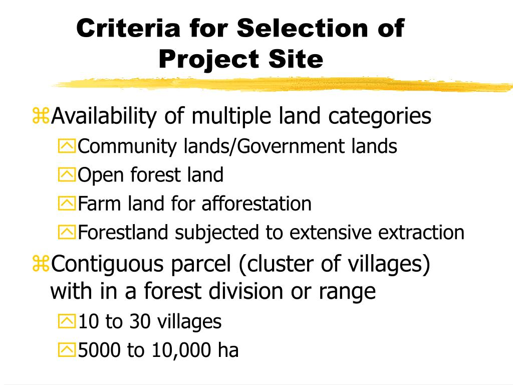 Criteria for Selection of Project Site