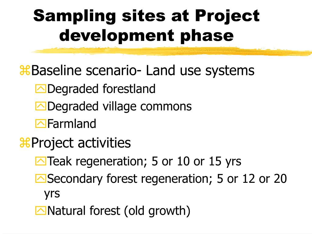 Sampling sites at Project development phase