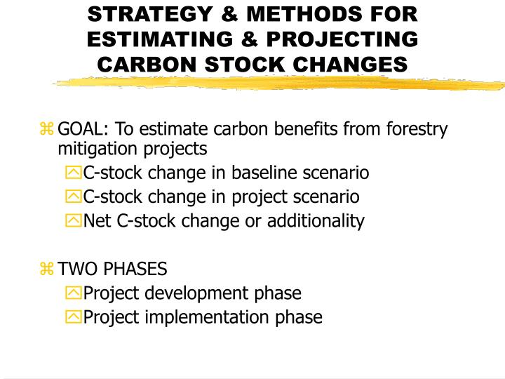 Strategy methods for estimating projecting carbon stock changes