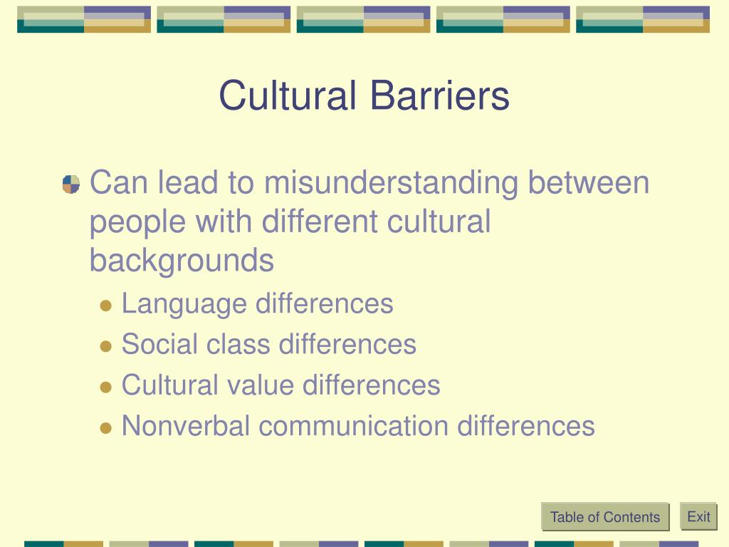 Cultural Barriers
