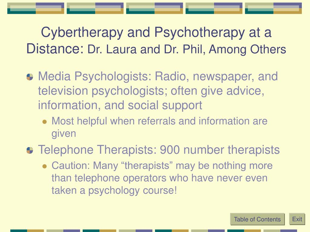 Cybertherapy and Psychotherapy at a Distance: