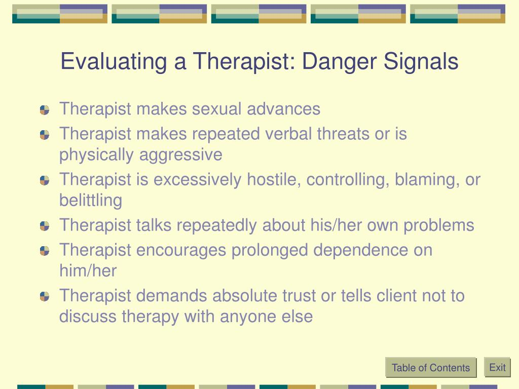 Evaluating a Therapist: Danger Signals