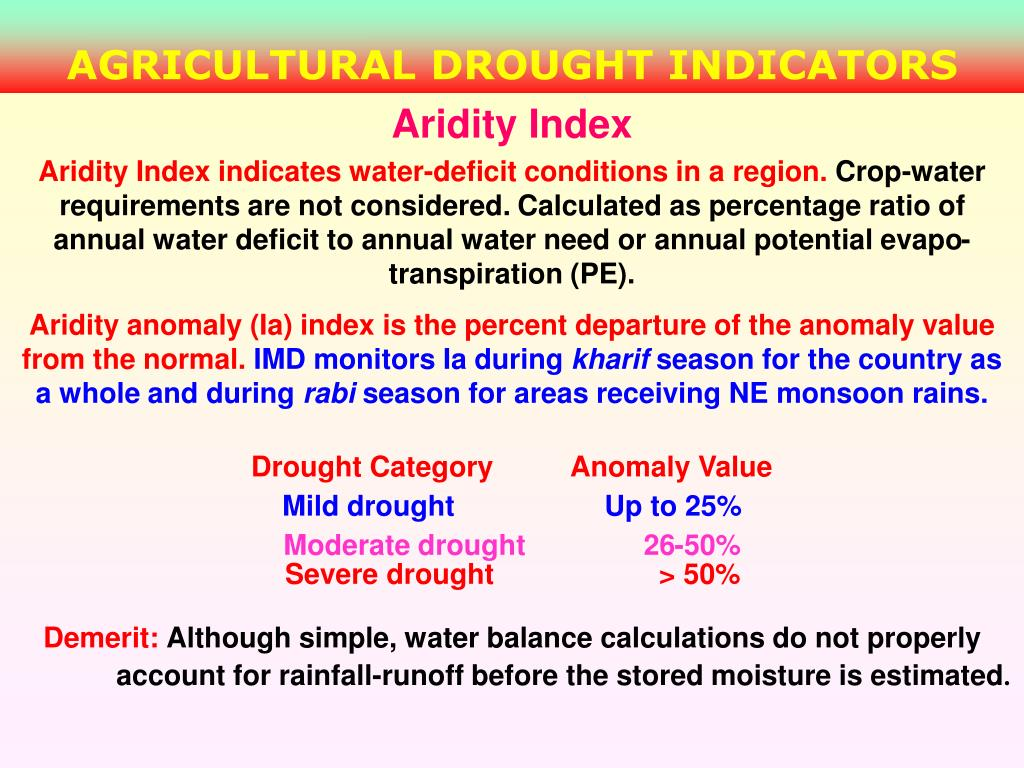 AGRICULTURAL DROUGHT INDICATORS