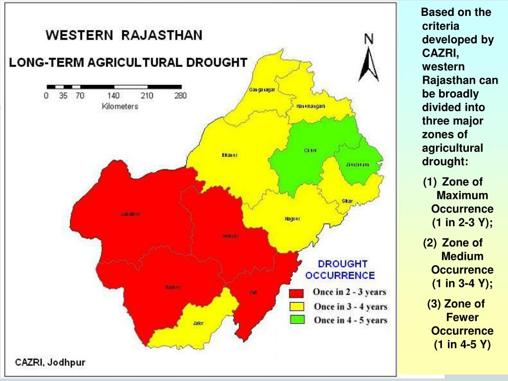 Based on the criteria developed by CAZRI, western Rajasthan can be broadly divided into three major zones of agricultural drought:
