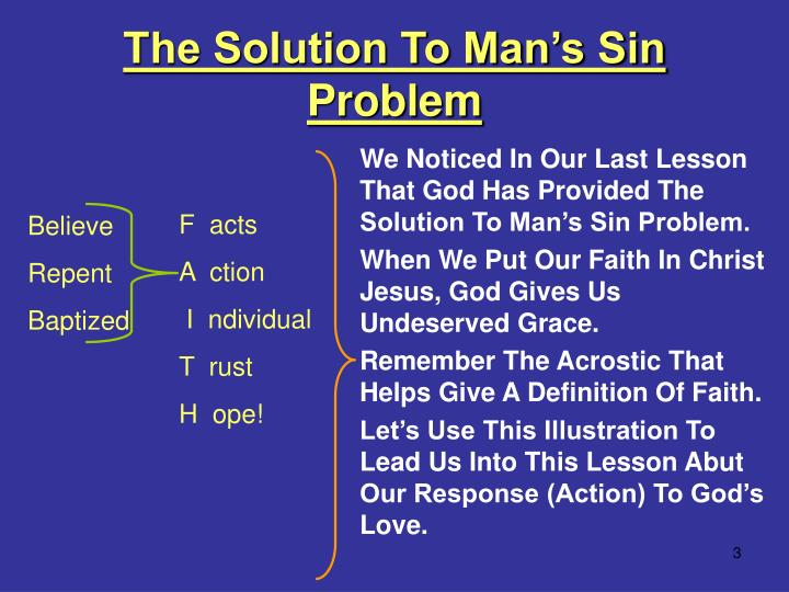 The solution to man s sin problem