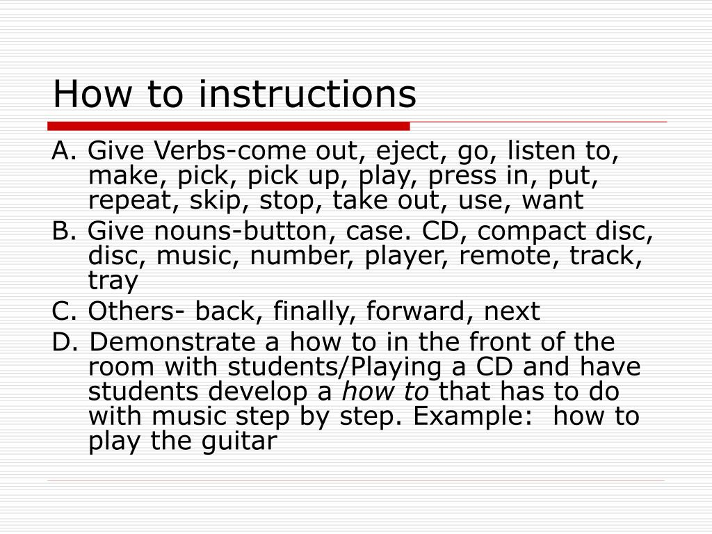 How to instructions