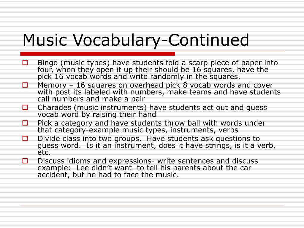 Music Vocabulary-Continued