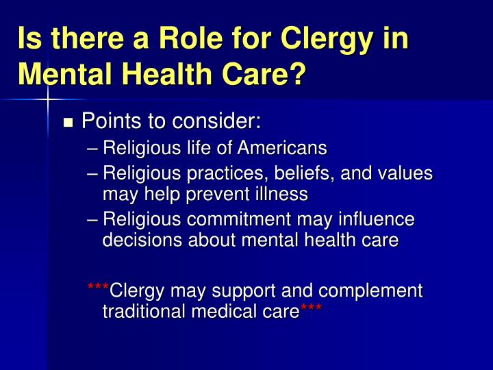 Is there a Role for Clergy in Mental Health Care?
