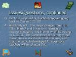 issues questions continued
