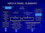 math a panel summary
