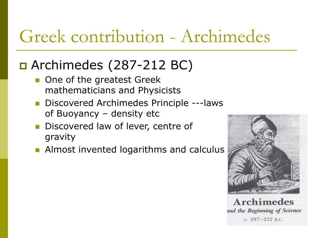 Greek contribution - Archimedes