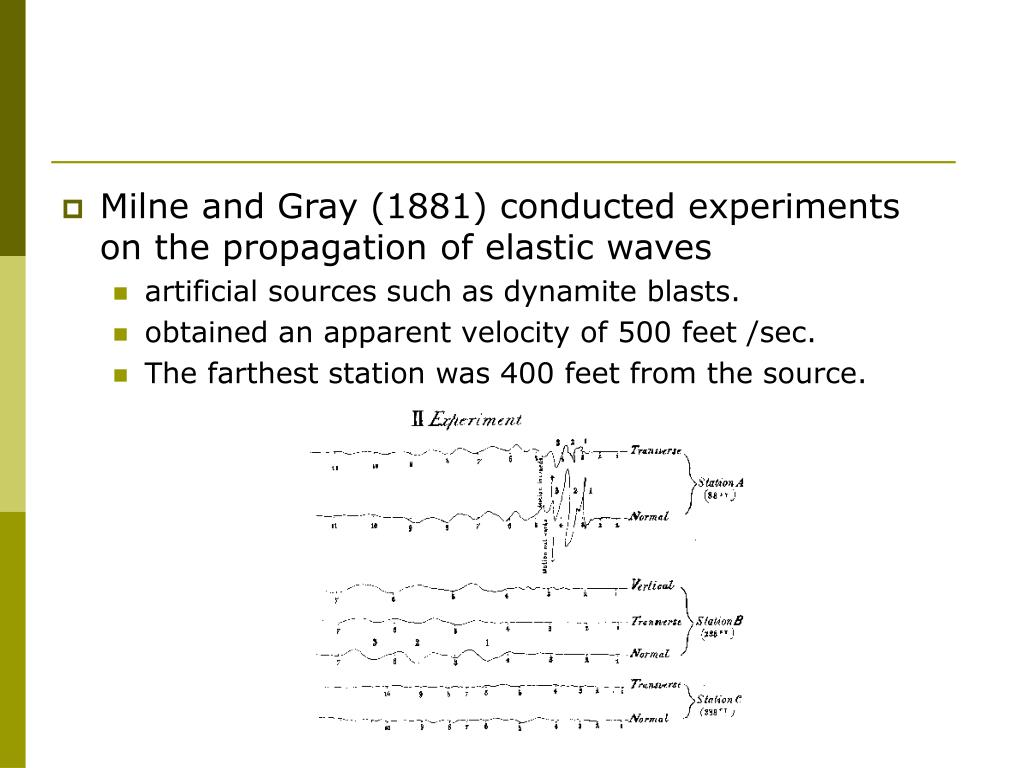 Milne and Gray (1881) conducted experiments on the propagation of elastic waves