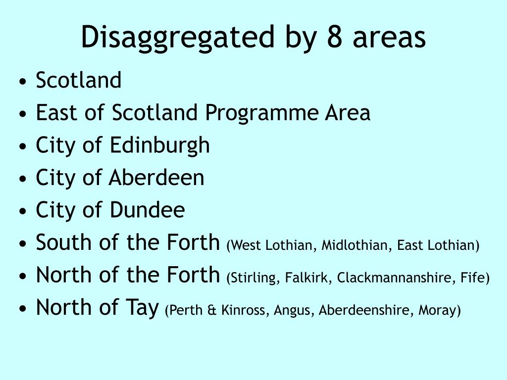 Disaggregated by 8 areas